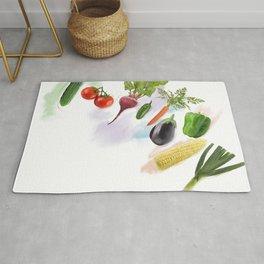 Digital Painting of  Fresh Vegetables Rug