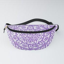 Purple Mandala on White Marble Fanny Pack