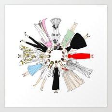 Audrey Hepburn Circle Fashion Art Print