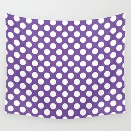 White Polka Dots with Purple Background Wall Tapestry