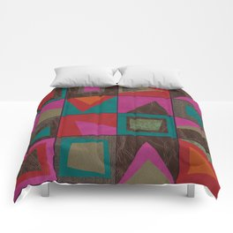 squares of colors and shreds Comforters