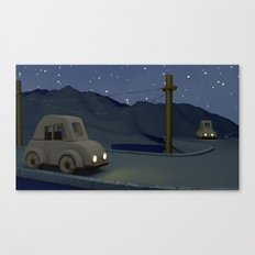 Two cars racing for the prize Canvas Print