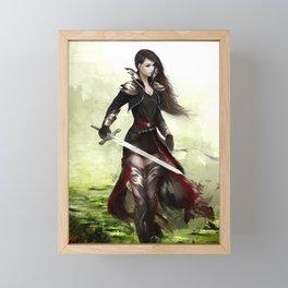 Lady knight - Warrior girl with sword concept art Framed Mini Art Print