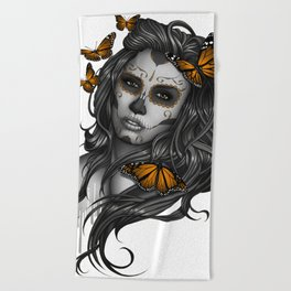 Sugar Skull Tattoo Girl with Butterflies Beach Towel