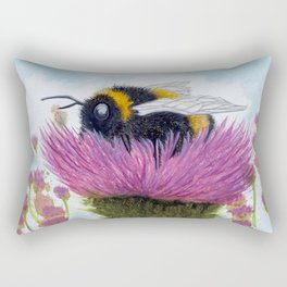Bumblebee on a Thistle Rectangular Pillow