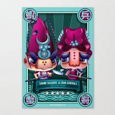 Shrimp Soldier and Crab General Canvas Print