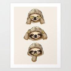 No Evil Sloth Art Print
