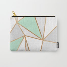 Mint Green, Grey & Gold Geo Carry-All Pouch