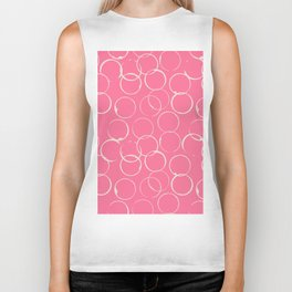 Circles Geometric Pattern Pink Antique White Biker Tank