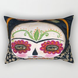 Frida The Catrina - Dia De Los Muertos Painted Skull Mixed Media Art Rectangular Pillow