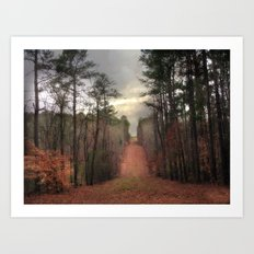 Surreal Autumn Fall Nature Trees Path Woodland Landscape Art Print