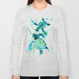 Sea Turtles, Turquoise blue Design Long Sleeve T-shirt