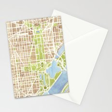Washington DC watercolor city map Stationery Cards