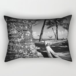 Kuau Beach Palm Trees and Hawaiian Outrigger Canoe Paia Maui Hawaii Rectangular Pillow