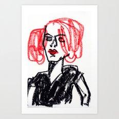 red hair girl Art Print