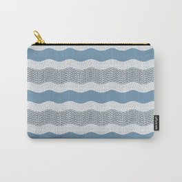 Wavy River in Blue and Gray 1 Carry-All Pouch