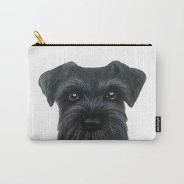 Black Schnauzer, Dog illustration original painting print Carry-All Pouch