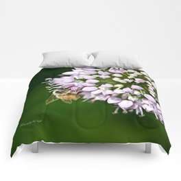 Honey Bee And Lavender Flower Comforters