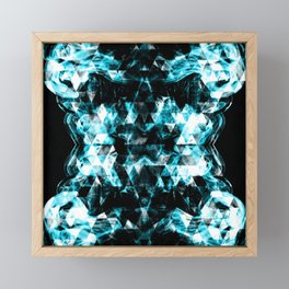 Electrifying blue sparkly triangle flames Framed Mini Art Print