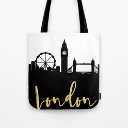 LONDON ENGLAND DESIGNER SILHOUETTE SKYLINE ART Tote Bag