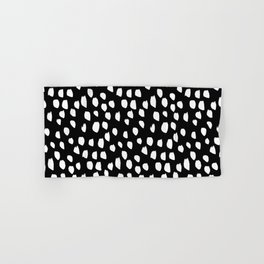 Handdrawn drops and dots on black - Mix & Match with Simplicty of life Hand & Bath Towel
