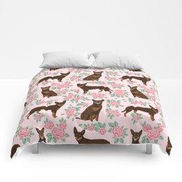 Kelpie florals dog breed cute gifts pattern dog lover pet portraits pet friendly designs Comforters