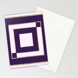 Modern light lavender purple gold contemporary geometric borders Stationery Cards