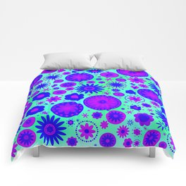 Blue and Purple Hippie Flower Pattern Comforters