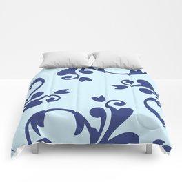 French Damask, Ornaments, Swirls - Blue Comforters