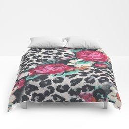 Vintage black white pink floral cheetah animal print Comforters