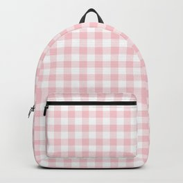 Blush Pink Valentine Pale Pink and White Buffalo Check Plaid Backpack