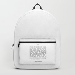 Life quote F. Scott Fitzgerald Backpack