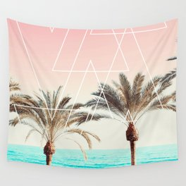 Modern tropical palm tree sunset pink blue beach photography white geometric triangles Wall Tapestry