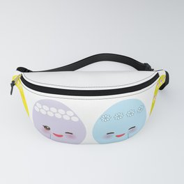 Happy Easter greeting card. Kawaii colorful blue green orange pink yellow egg Fanny Pack