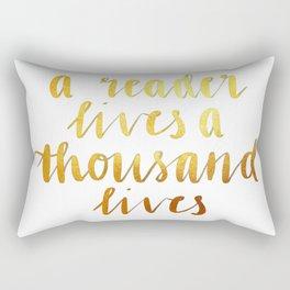 A Reader Lives a Thousand Lives Rectangular Pillow