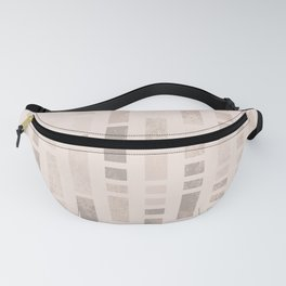 Geometric rectangle column tiles pattern - Brown & Beige Fanny Pack