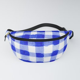 Handpainted Classic Gingham Pattern Blue Fanny Pack