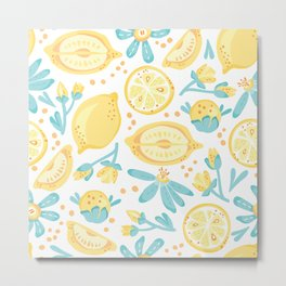 Lemons Pattern in yellow and green Metal Print