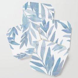 Muted Blue Palm Leaves Coaster