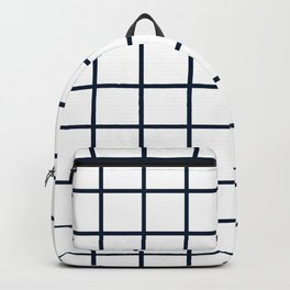 GRID DESIGN (NAVY BLUE-WHITE) Backpack