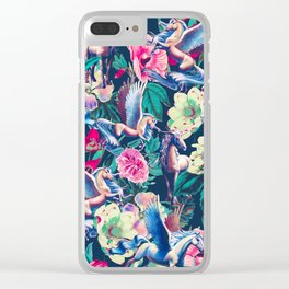 Unicorn and Floral Pattern Clear iPhone Case