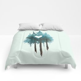 Forest Love - heart cutout watercolor artwork Comforters