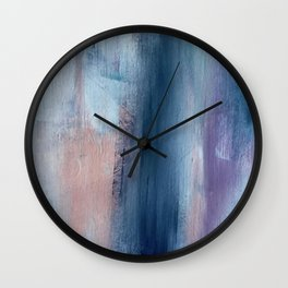 In a Blur: an abstract mixed media piece in pinks, blues, and purple Wall Clock