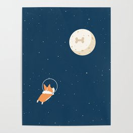 Fly to the moon _ navy blue version Poster