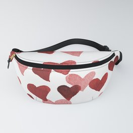 Valentine's Day Watercolor Hearts - red Fanny Pack