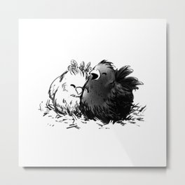 Chocobo Black Chick Metal Print