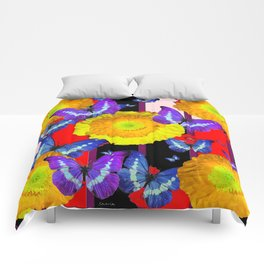 GOLDEN-YELLOW POPPIES  FLOWER BUTTERFLIES RED FLORAL Comforters