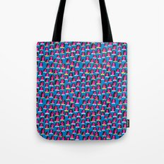 Pink Heads On Blue Tote Bag
