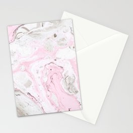 Pink and gray marble Stationery Cards