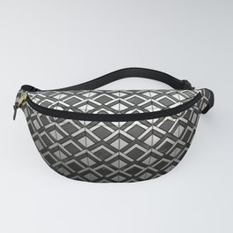 Cascading Squares Black and Silver - Art Deco Pattern Fanny Pack